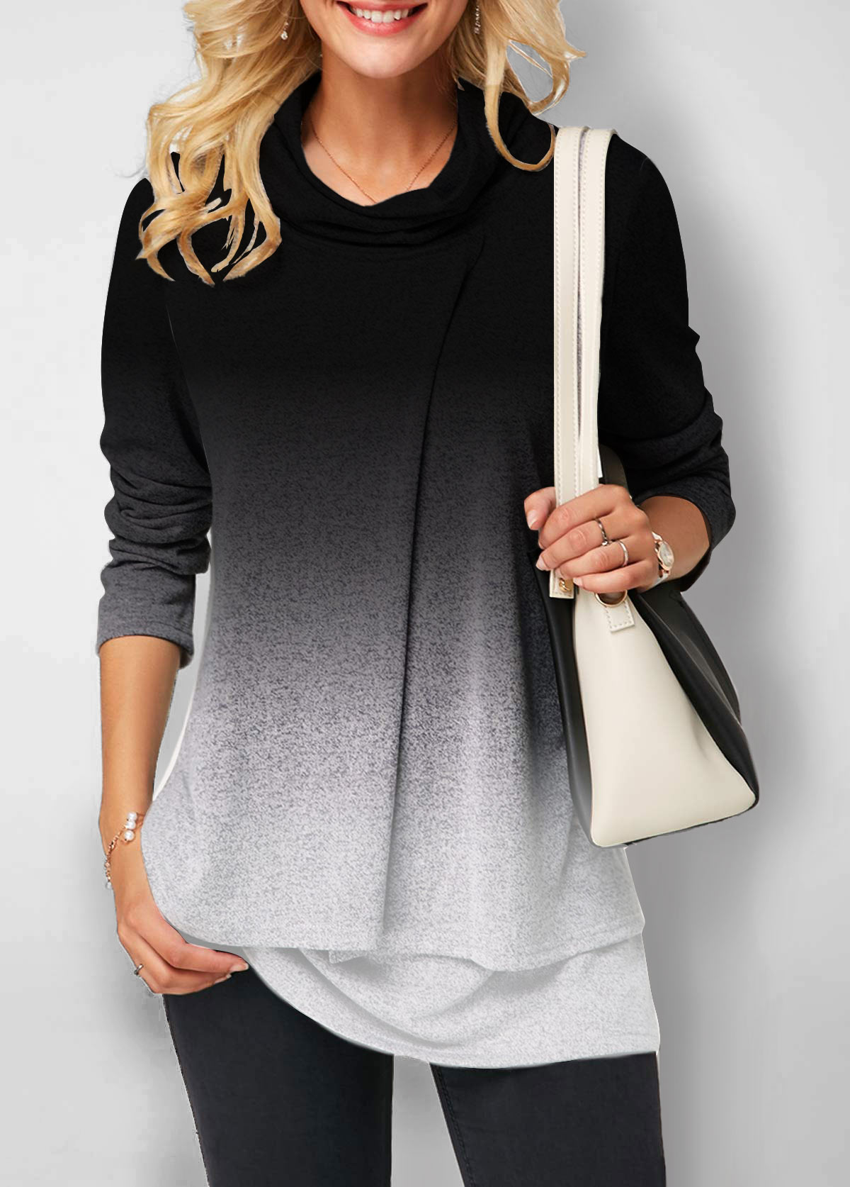 Layered Hem Cowl Neck Gradient Sweatshirt