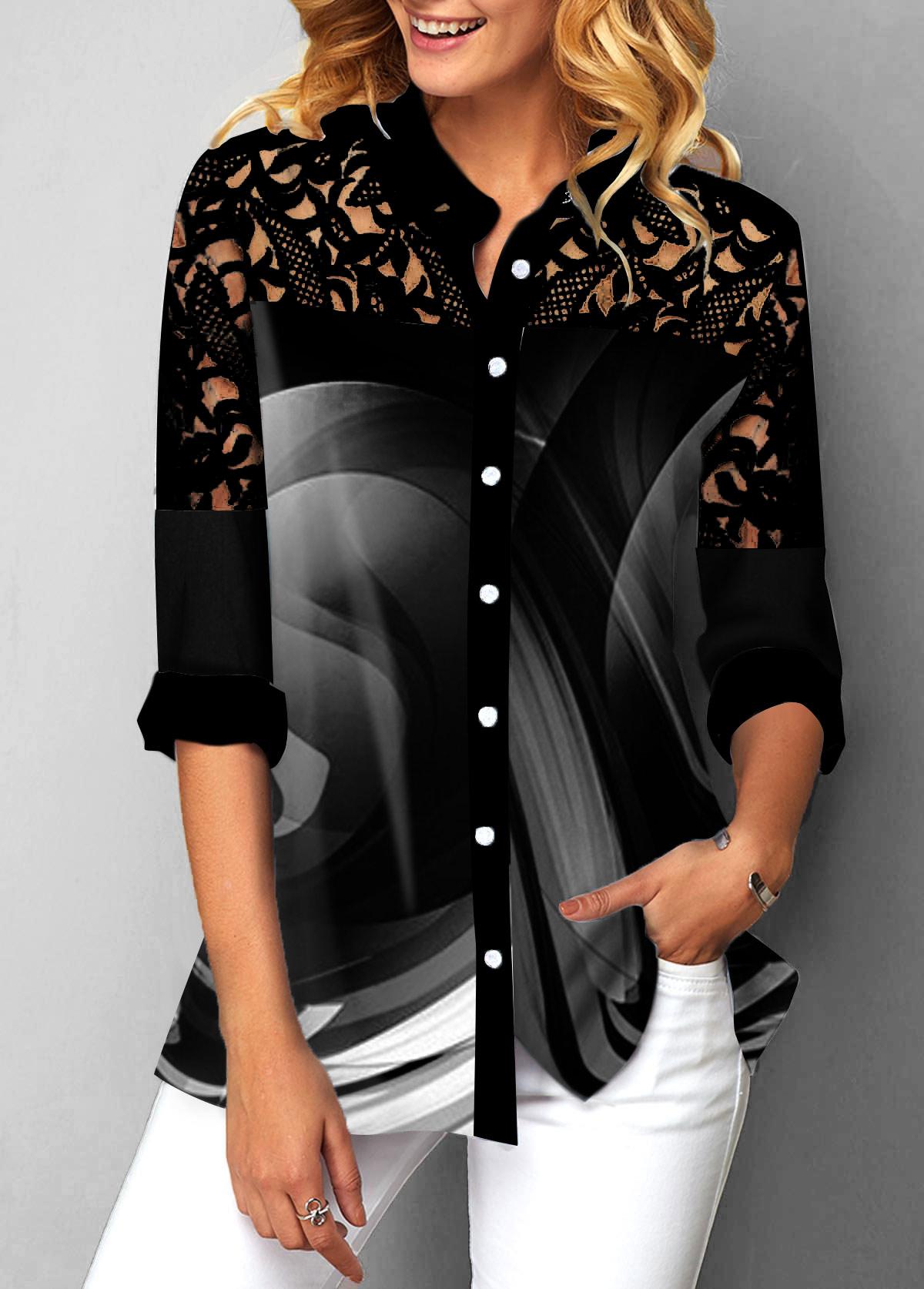 Lace Patchwork Button Detail Turndown Collar Blouse