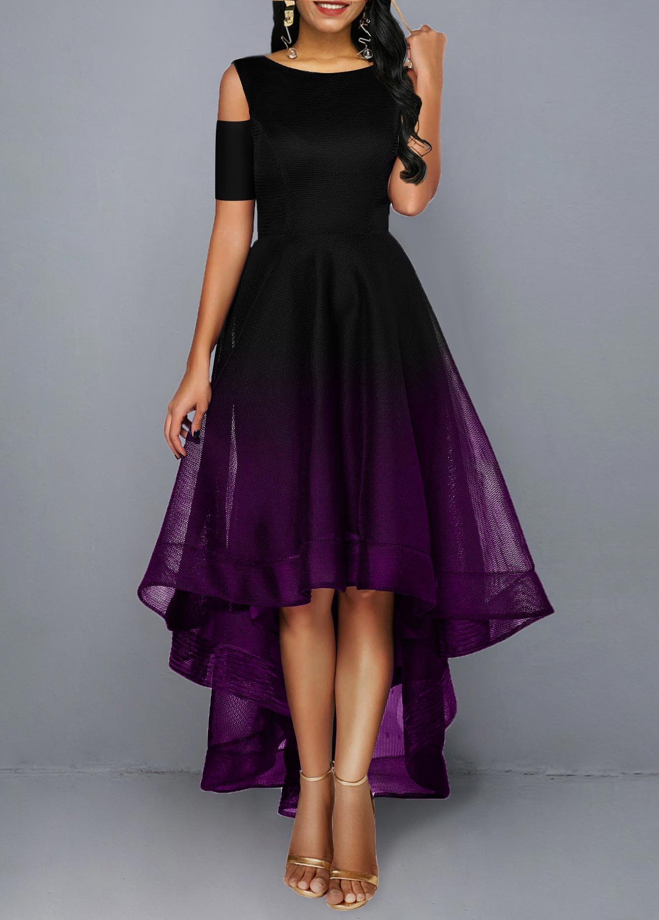 Color Block High Low Cold Shoulder Maxi Dress