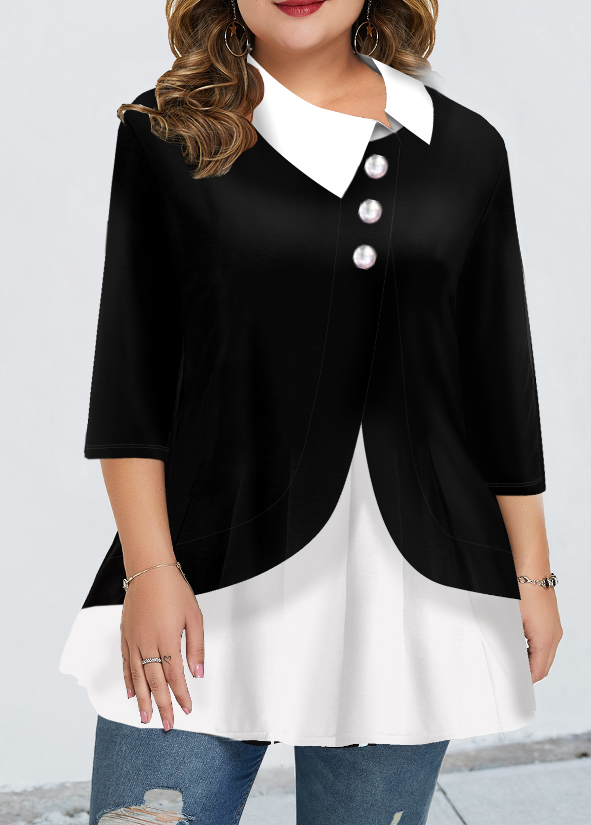 Plus Size Turndown Collar Faux Two Piece Blouse