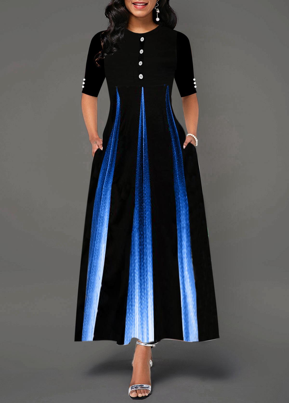 Gradient Button Detail Half Sleeve Maxi Dress