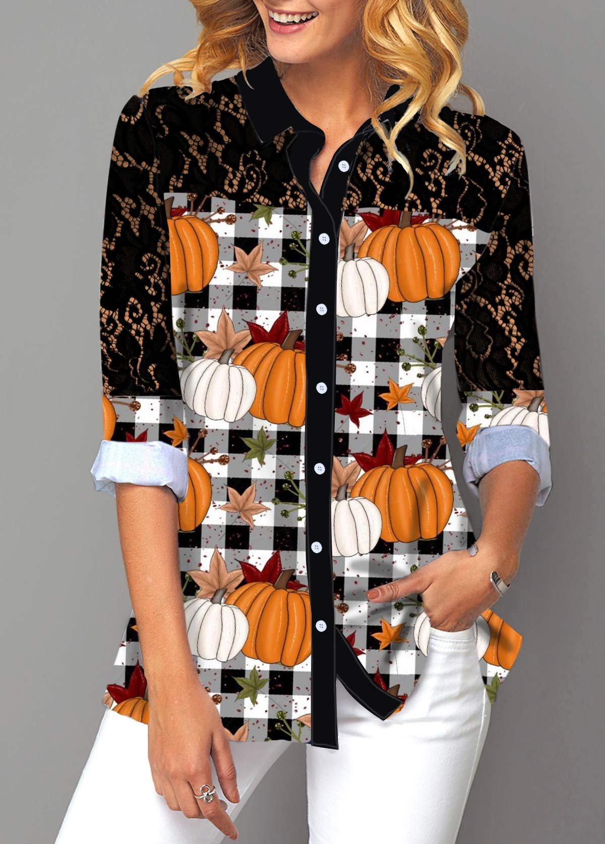 Pumpkin and Plaid Print Button Up Lace Panel Shirt
