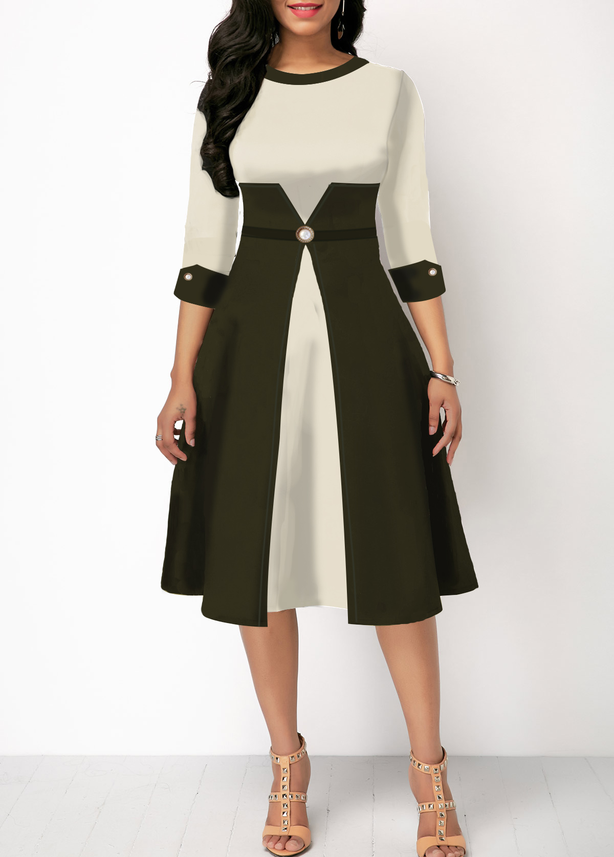 Color Block High Waist Three Quarter Sleeve Dress