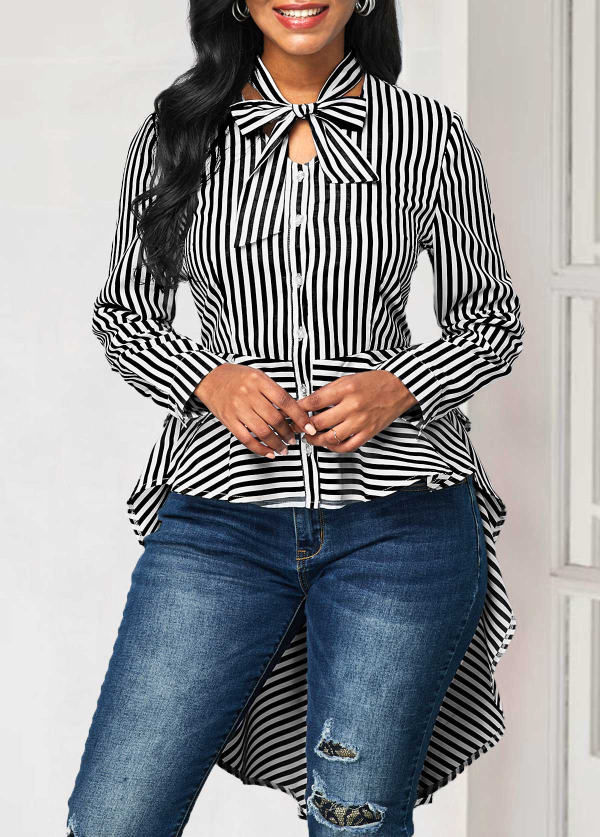 Striped Tie Neck Long Sleeve Blouse