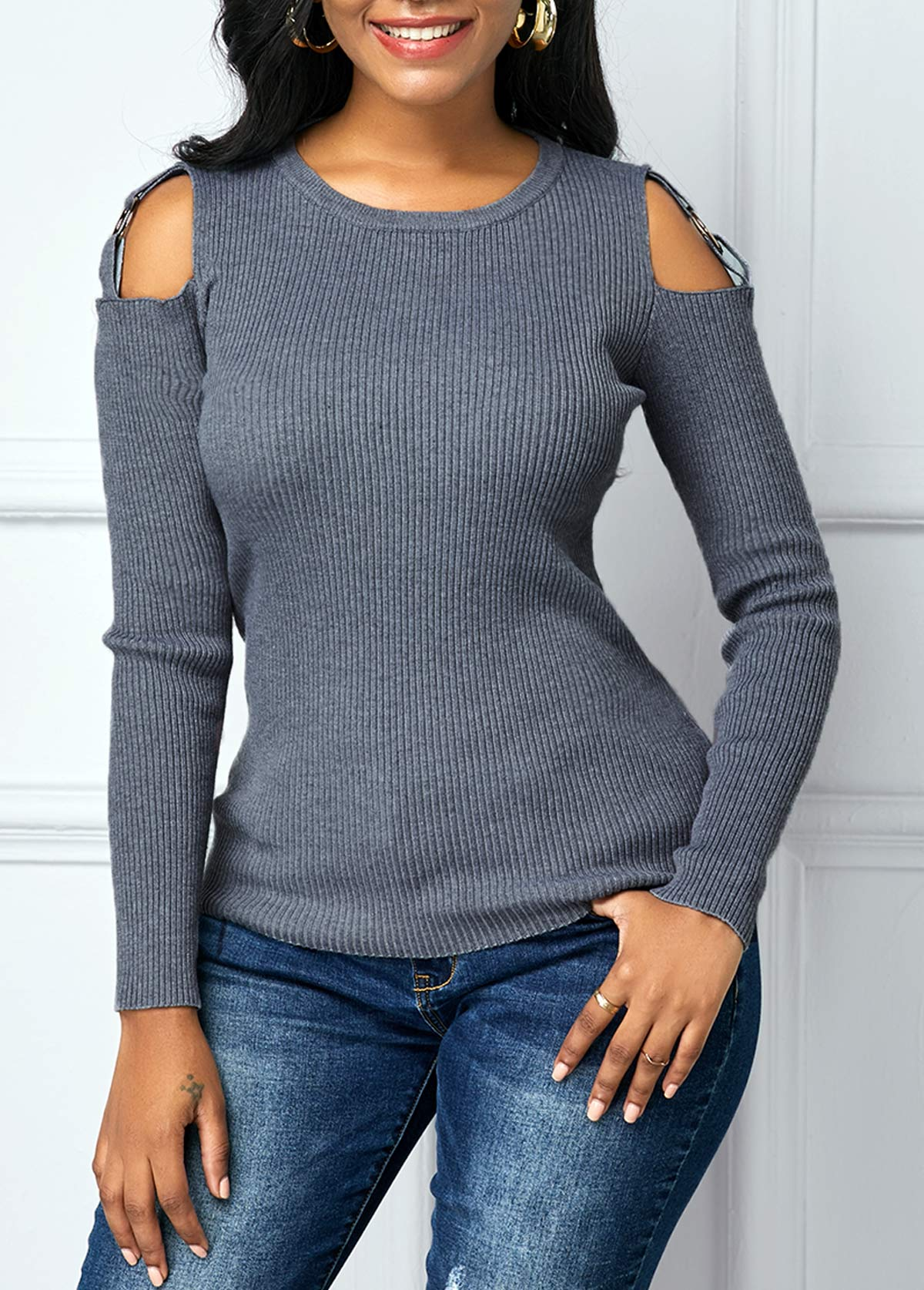Cutout Shoulder Round Neck Long Sleeve Sweater