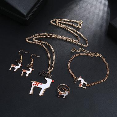 Christmas Elk Pendant Gold Metal Necklace Set