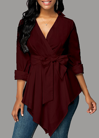 Tie Bowknot Wine Red Blouse for Autumn