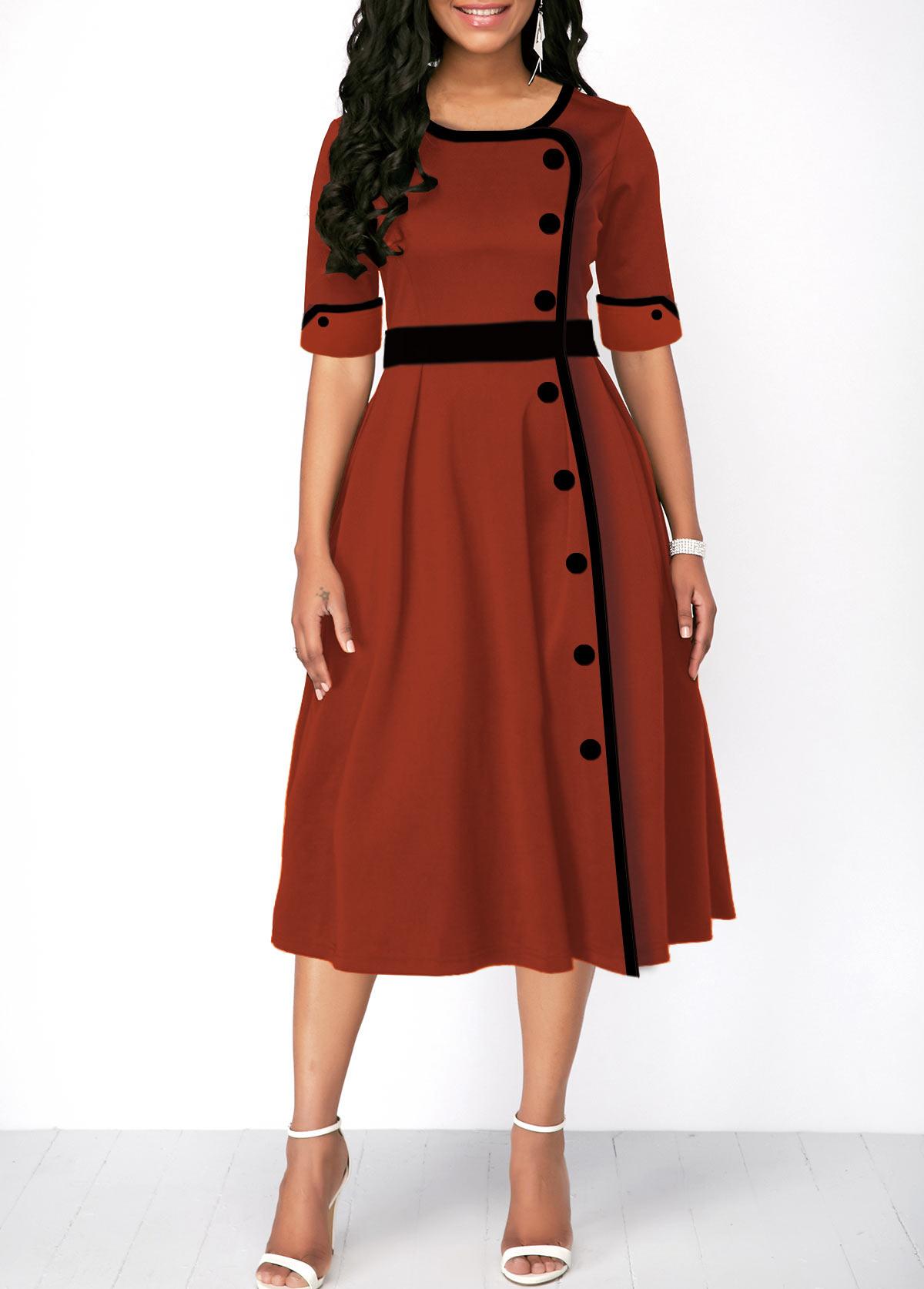 Half Sleeve Button Front High Waist Dress