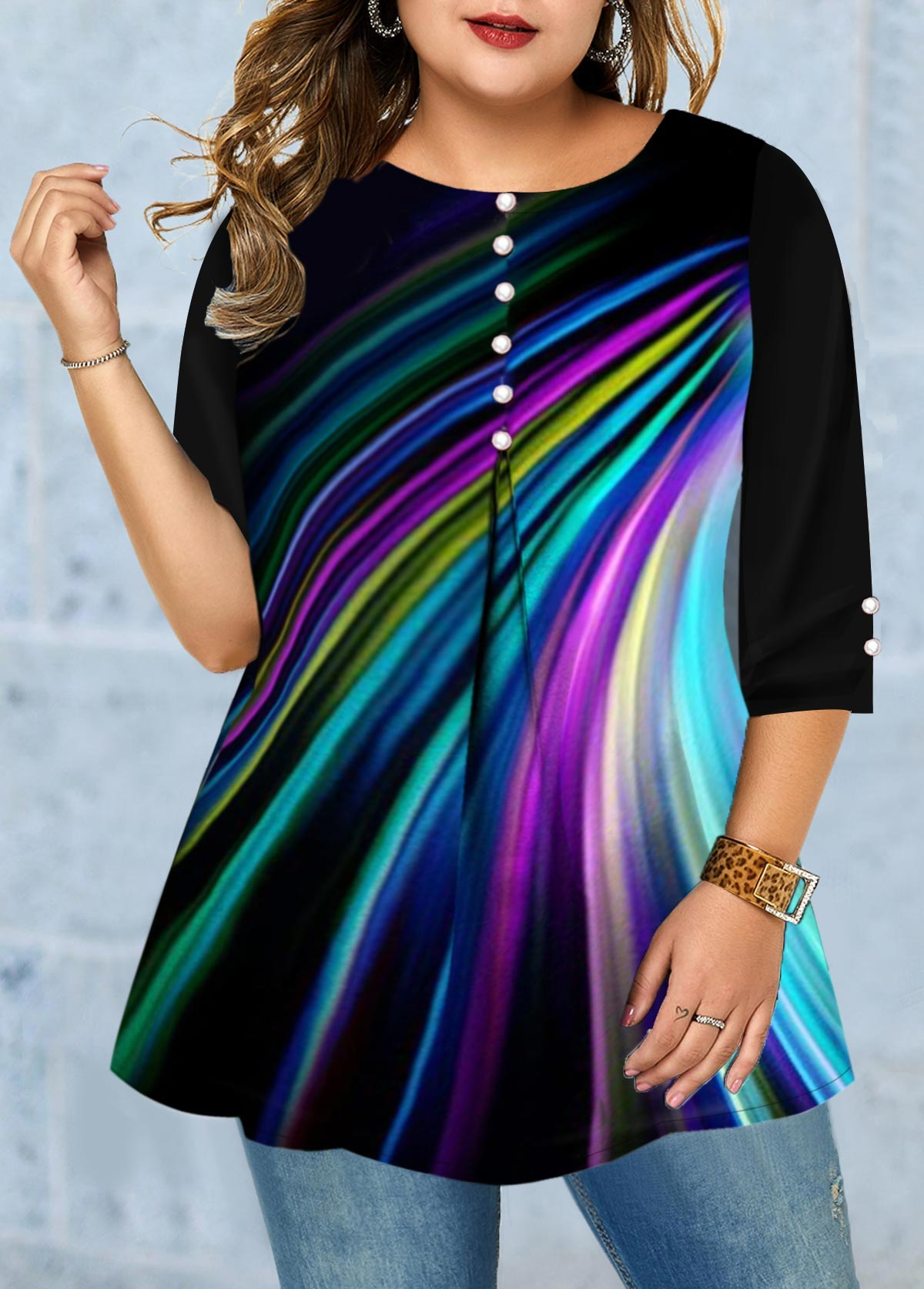 Plus Size Button Embellished Printed T Shirt