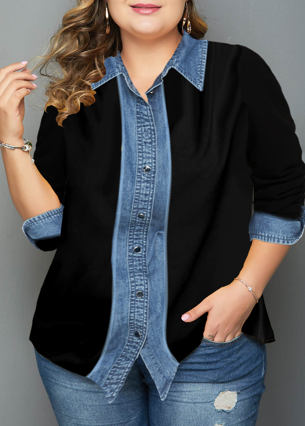 Plus Size Turndown Collar Button Up Shirt