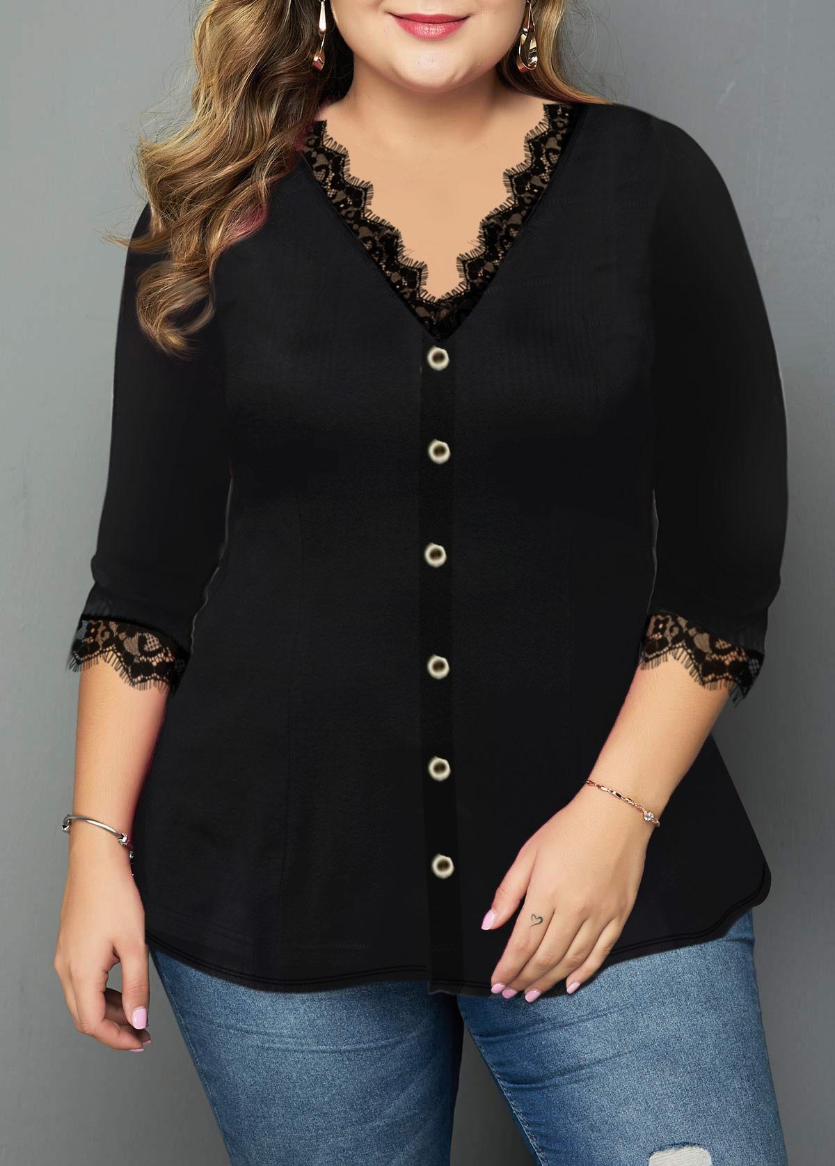 Plus Size Lace Panel Button Front T Shirt