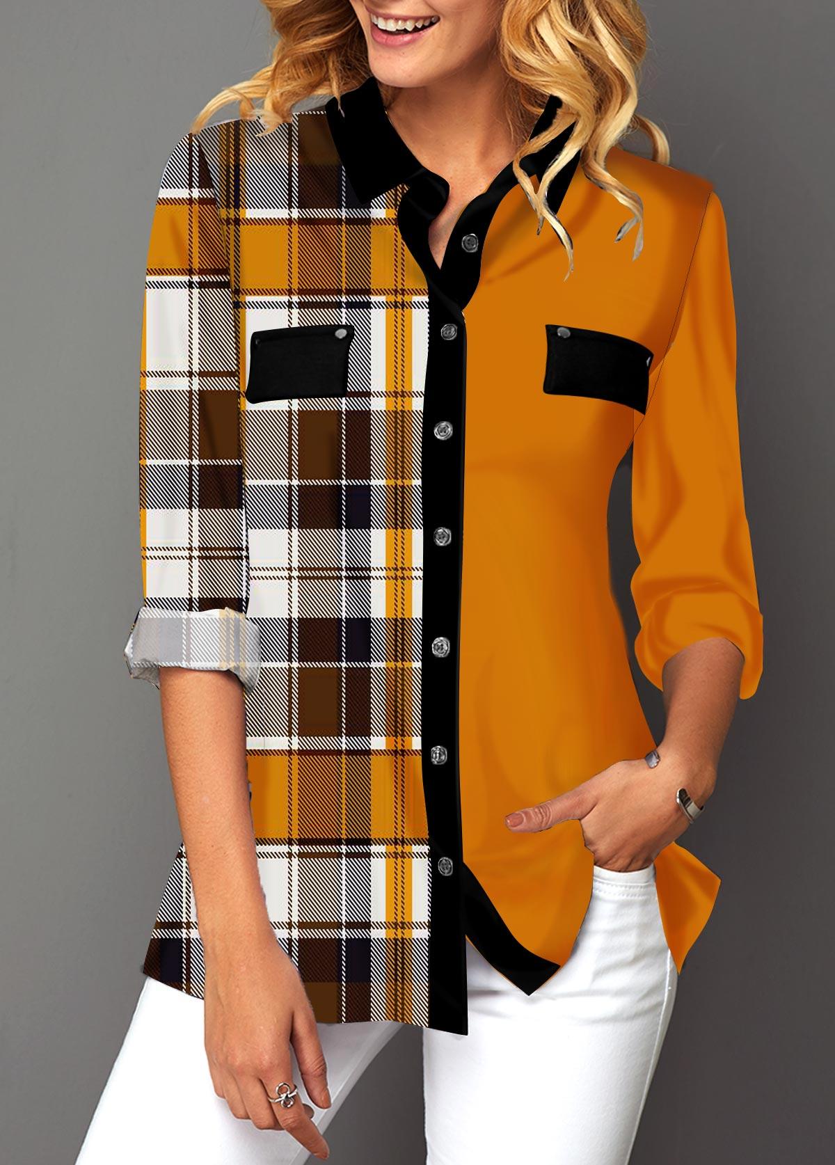 Button Up Plaid Print Turndown Collar Blouse