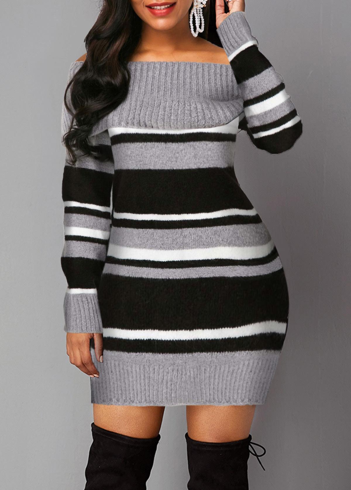 Long Sleeve Stripe Pattern Off the Shoulder Sweater Dress