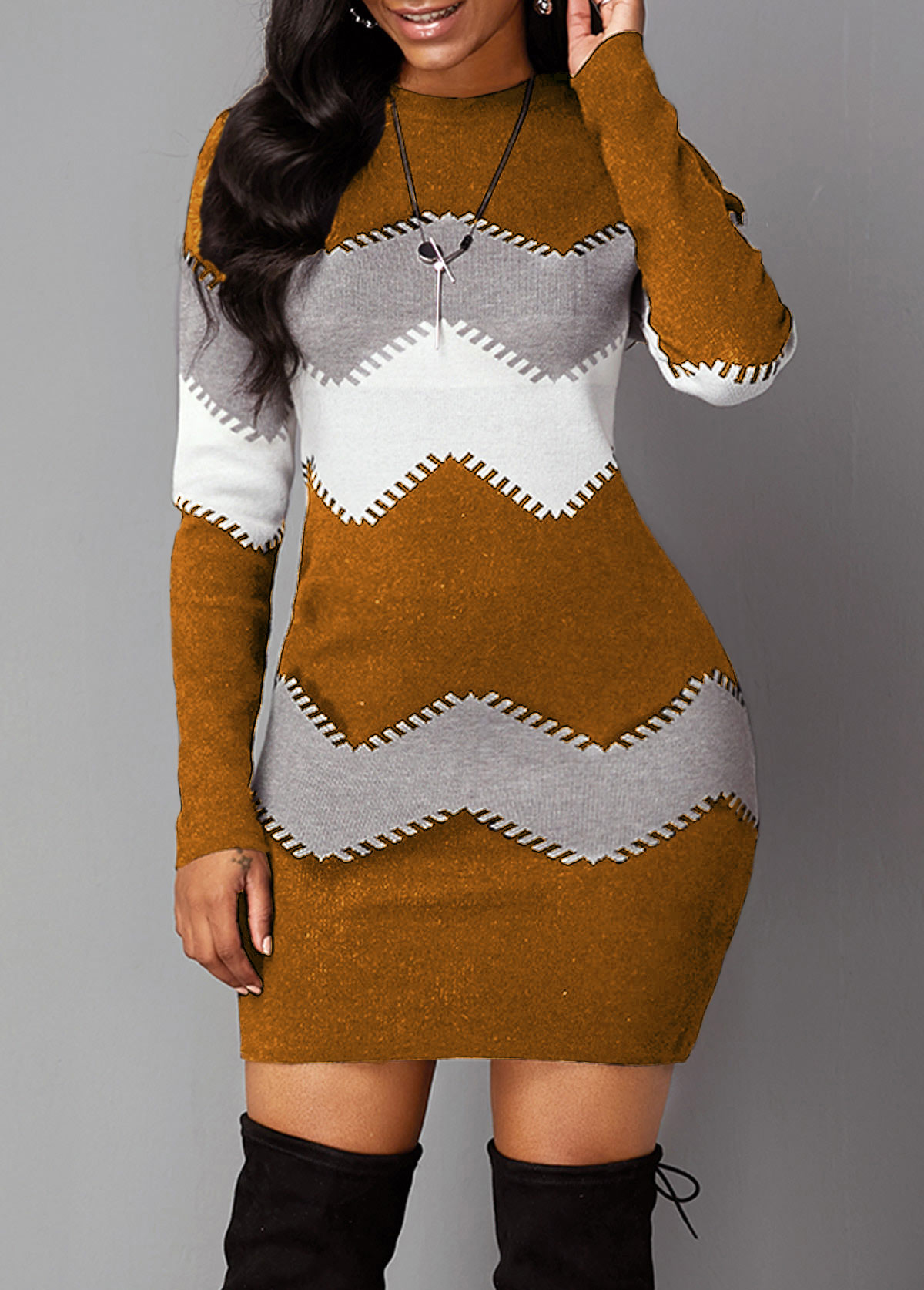 Long Sleeve Mock Neck Chevron Pattern Sweater Dress