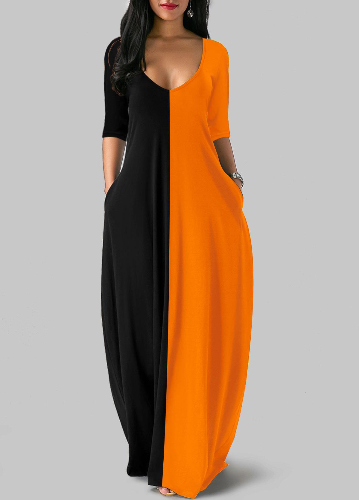 Plunging Neck Color Block Three Quarter Sleeve Maxi Dress