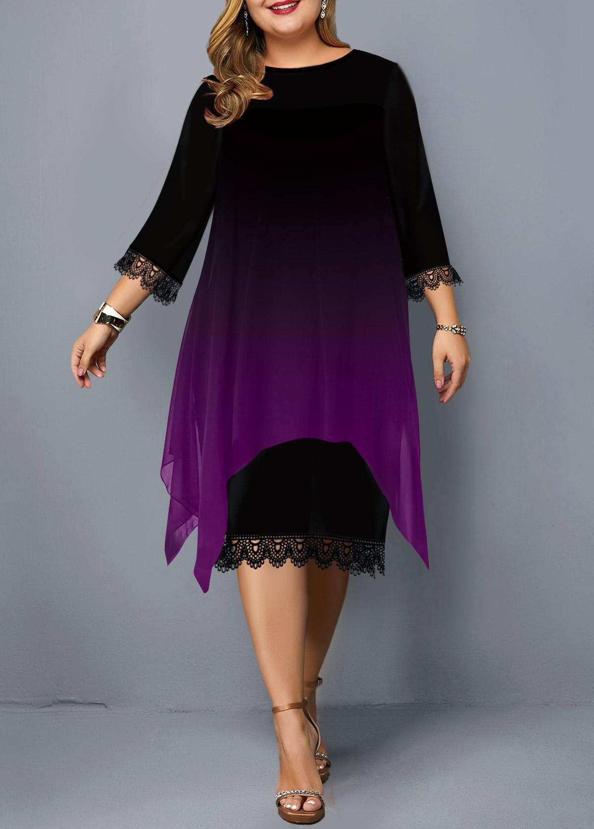 Plus Size Lace Panel Gradient Dress