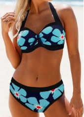 Flower-Print-Cutout-Back-Halter-Bikini-Set