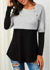 Color-Block-Button-Detail-Curved-Hem-Sweatshirt