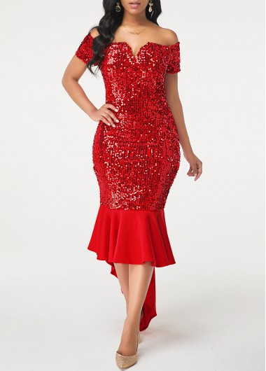 Red Sparkly Glitter Sequin Off The Shoulder Cocktail Party Dress Off the Shoulder Sequin Embellished Wine Red Sheath Dress - L