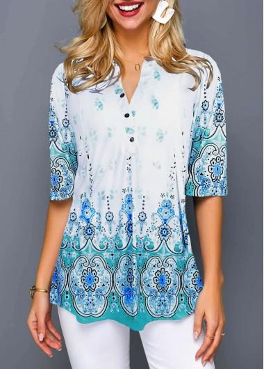 Women's Split Neck 3/4 Sleeve Tribal Print Button Front Blouse Top - M