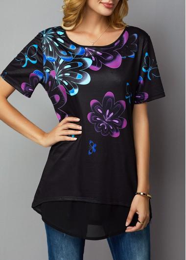 Round Neck Short Sleeve Printed T Shirt - M