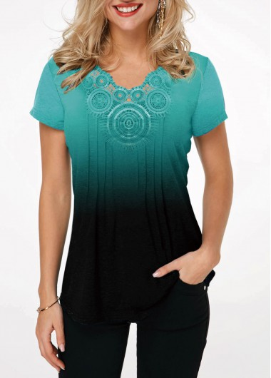 Lace Panel Cyan Gradient Short Sleeve T Shirt - M