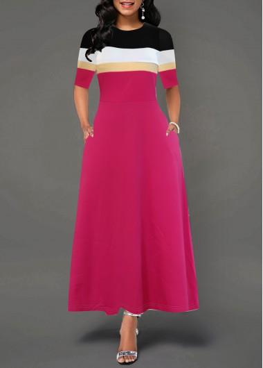 Color Block Round Neck Pocket Dress - XL