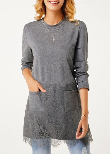 Lace Panel Long Sleeve Pocket T Shirt - L