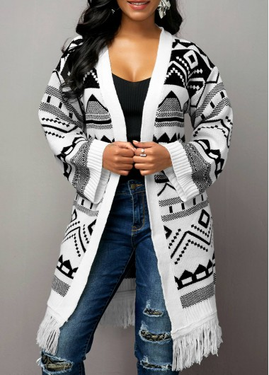 Tribal Pattern Tassel Hem Open Front Cardigan - L