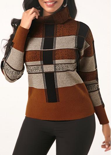 Turtleneck Plaid Pattern Long Sleeve Sweater - L