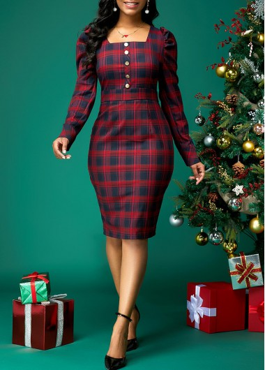 Christmas Party Dress Plaid Print Dress Square Collar Dress Button Front Dress Red Plaid Party Dress for Women - XL