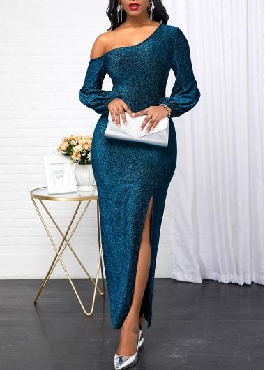 Skew Neck Peacock Blue Long Sleeve Dress - L