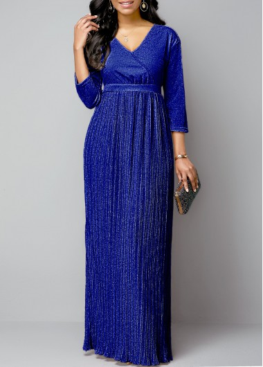 Three Quarter Sleeve Belted Royal Blue Pleated Dress - M