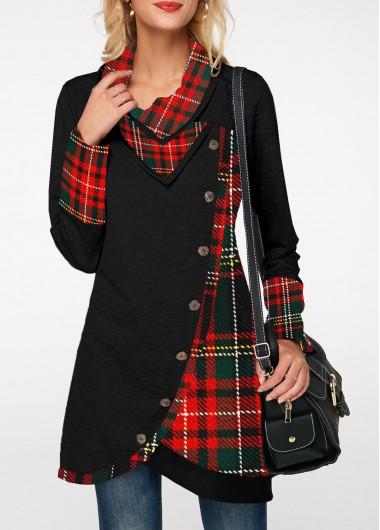 Long Sleeve Button Detail Plaid Print Sweatshirt - M
