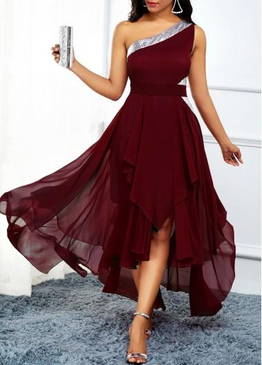 One Shoulder Asymmetric Hem High Waist Dress - L