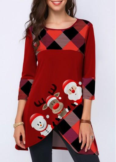 Christmas Print Crossover Hem Three Quarter Sleeve T Shirt - XXL