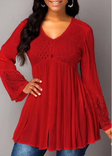 Red Long Sleeve Flare Cuff Blouse Top for Women - M