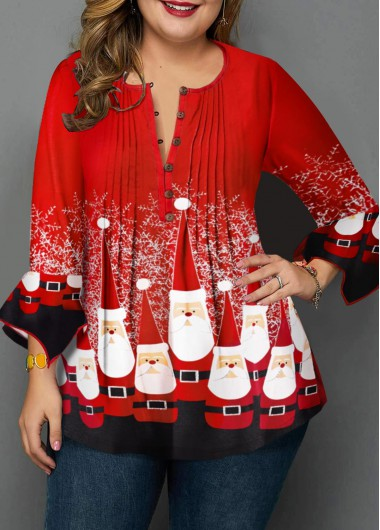 Christmas Shirt Plus Size Top 3/4 Sleeve Top Button Up Front Red Top Crinkle Chest Blouse for Women - 0X