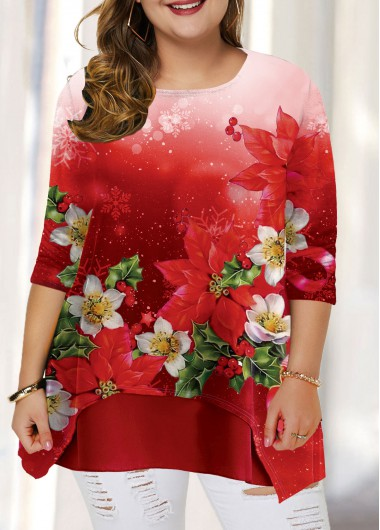 Plus Size Christmas Shirt Red Long Sleeve Flower Print T Shirt for Women - 0X