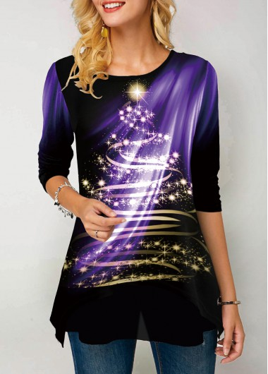 Round Neck Dazzle Color Printed T Shirt - S