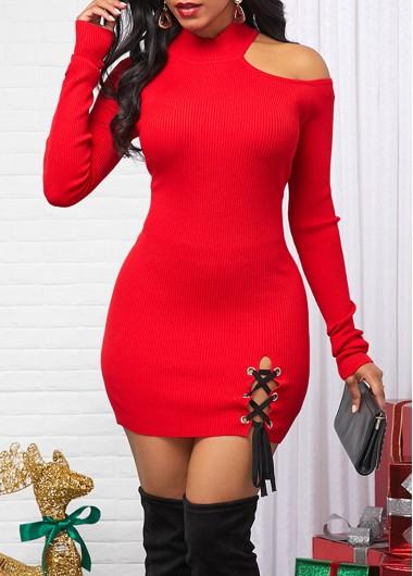 Cold Shoulder Lace Up Red Sweater Dress - 10