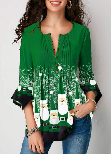 Green 3/4 Sleeve Flare Cuff Printed Christmas Shirt Top for Women - L