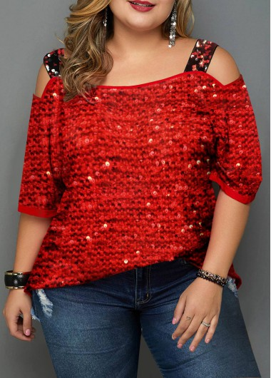Red Cold Shoulder Plus Size Top Sequin Shirt New Year Shirt Top - 0X