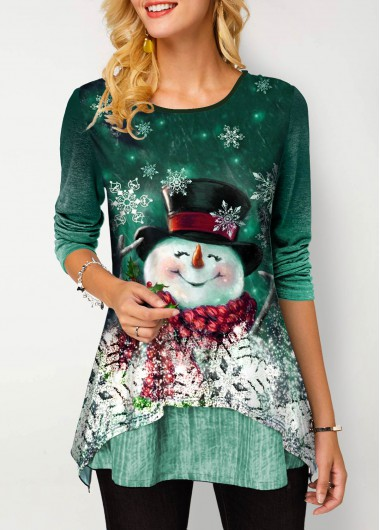 Green Snowman Print Long Sleeve Gradient Shirt Christmas Shirt Top for Women - L