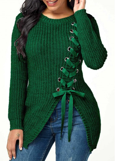 Lace Up Split Front Long Sleeve Sweater - L