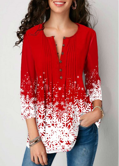 Red Button Front 3/4 Sleeve Printed Casual Christmas Blouse Top for Women - L