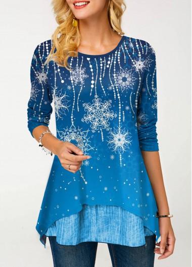 Layered Hem Snow Print Long Sleeve T Shirt - L