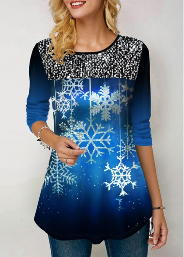 Sequin Embellished Printed Long Sleeve T Shirt - L