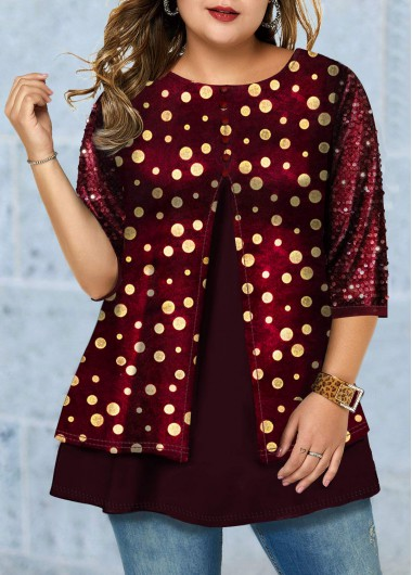 Plus Size Hot Stamping Sequin Detail T Shirt - 0X