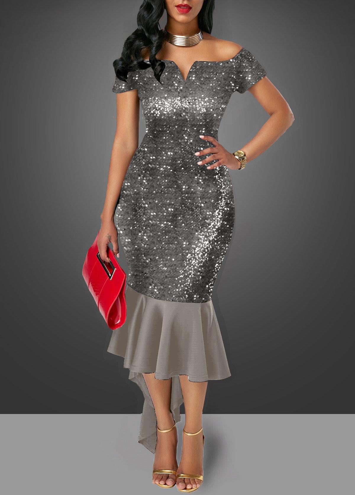 Off the Shoulder Sequin Embellished Dark Grey Sheath Dress